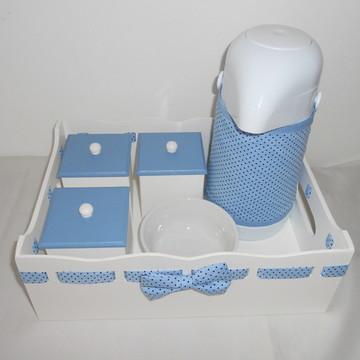 Kit higiene azul de poá marrom