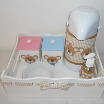 Kit higiene bege xadrez ursos gêmeos