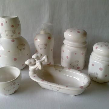 Kit Porcelana - Ovelhinha Rosa -promoção