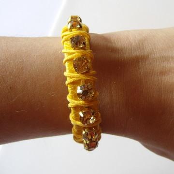 Pulseira Amarela com strass