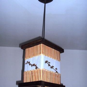 luminária de teto lustre rústico bambu