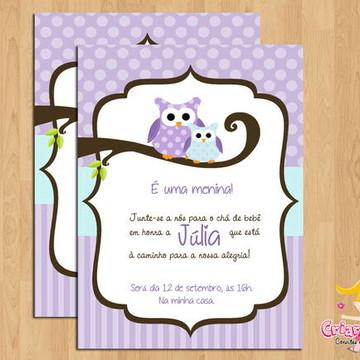 Convite Chá de Bebê Corujinha Lilás