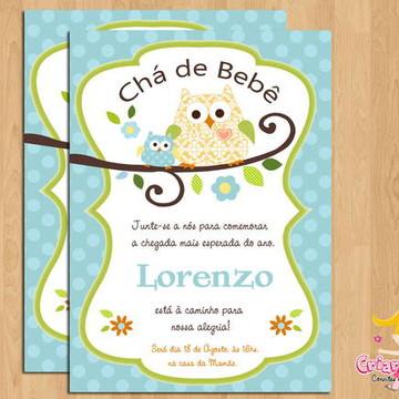 Convite Chá de Bebê Corujinha mod.5