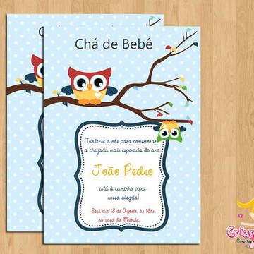 Convite Chá de Bebê Corujinhas mod.4