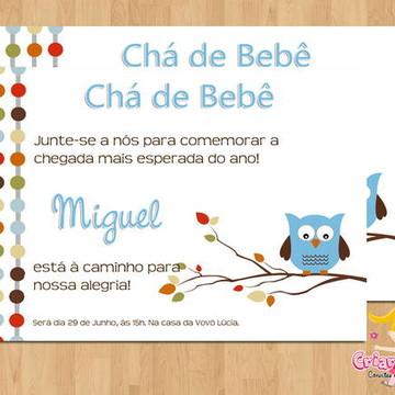 Convite Chá de Bebê Corujinhas mod.3