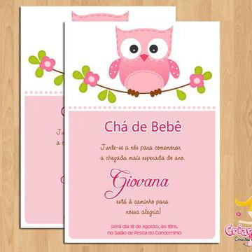 Convite Chá de Bebê Corujinhas mod.2