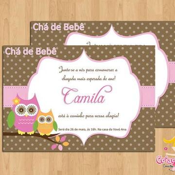 Convite Chá de Bebê Corujinhas mod.1