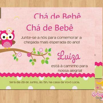 Convite Chá de Bebê Corujinha Menina