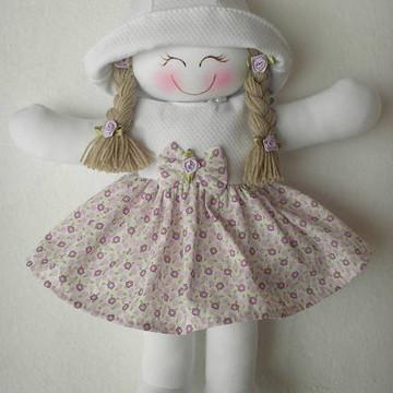 Boneca de pano lilás com piquet