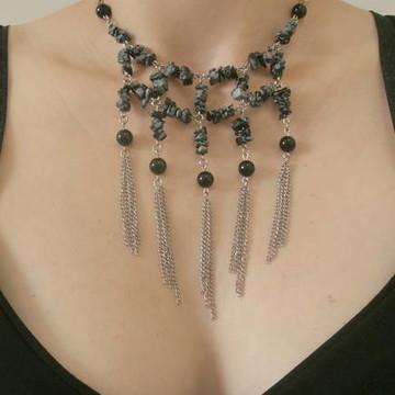 Maxi colar com pedras Ônix e Obsidiana