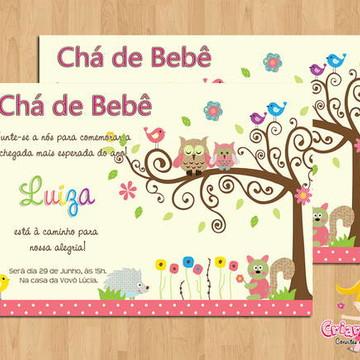 Convite Chá de Bebê Corujinha Árvore