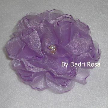 flor organza cristal lilás