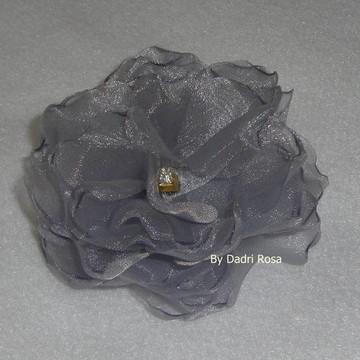 Flor De Organza Cristal prata