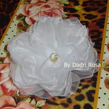 Flor Organza Cristal Branca
