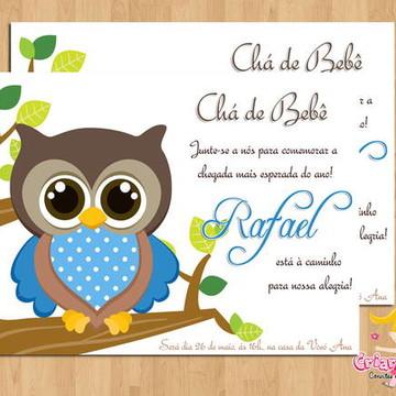 Convite Chá de Bebê Corujinha Azul