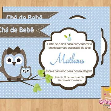 Convite Chá de Bebê Corujinha Mamãe Bebê
