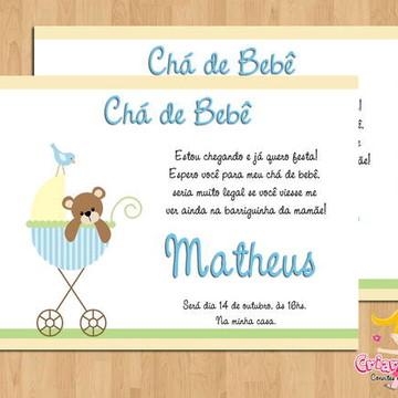 Convite Chá de Bebê Ursinho Carrinho