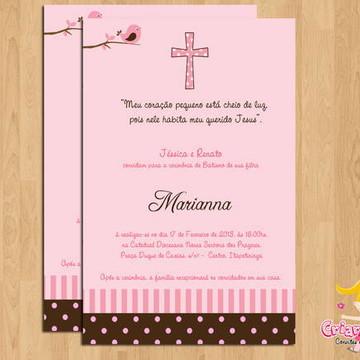 Convite Batizado Passarinho Rosa