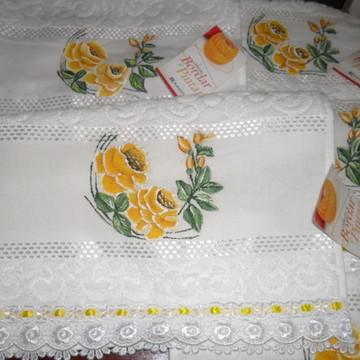 Toalha de visita rosas amarelas