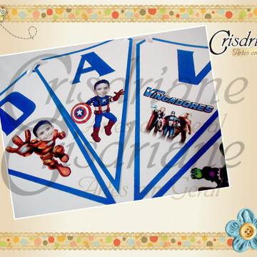 Bandeirolas Vingadores com fotomontagem