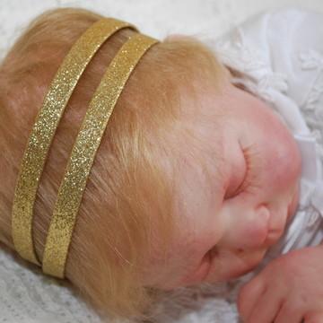 Faixa baby/infantil DOURADA purpurina