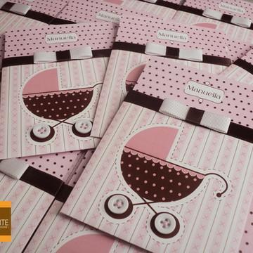 Convite para chá de bebê carrinho rosa