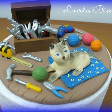 Topo de bolo - Gato e ferramentas