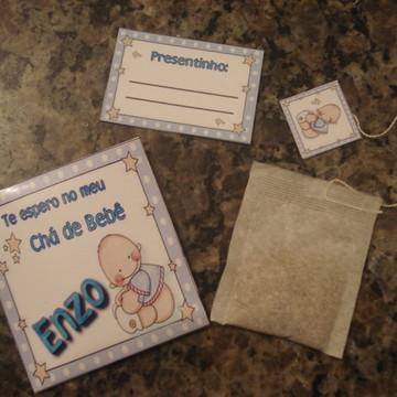 Convite Chá de Bebê com Sache de Chá