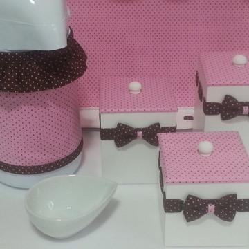 Kit Higiene Petit Poá Rosa e Marrom