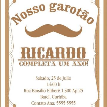 Convite Digital Moustache Baby Bege