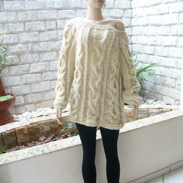 Blusa de tricô Marfim CX070