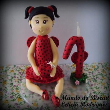 Topo de bolo Joaninha com vela