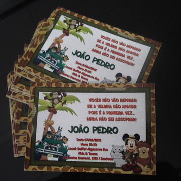 Convite Personalizado - Mickey na Selva