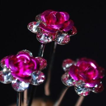 Grampo PONTO DE LUZ mini flor rosa
