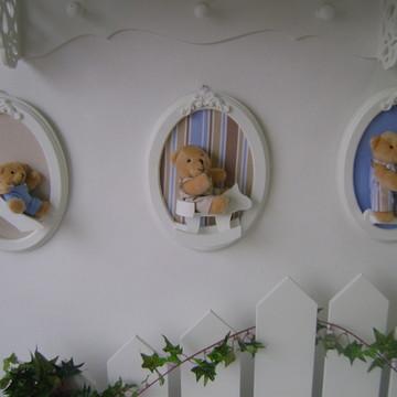 Trio de quadro oval urso
