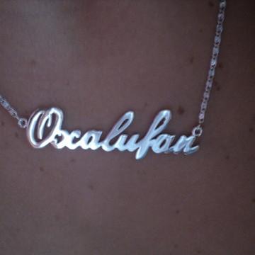 Cordão com nome Oxalufan em Prata