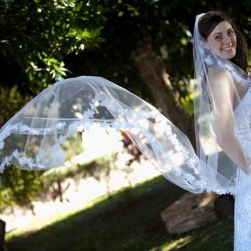 Véu noiva mantilha flores e cristais