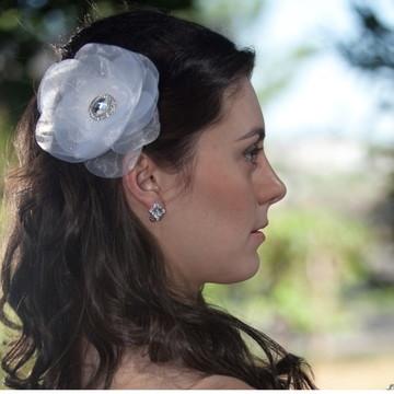 Grinalda flor organza cristal casamento