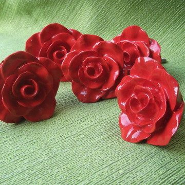Puxador Rosa provençal Vermelha