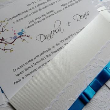 Convite Renda - Love Birds