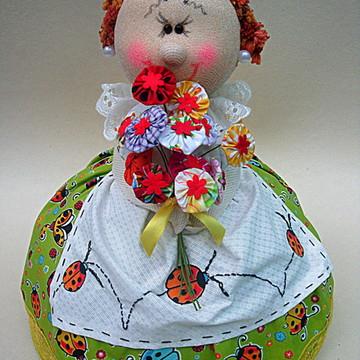 Cobridor De Alimentos-menina com flores
