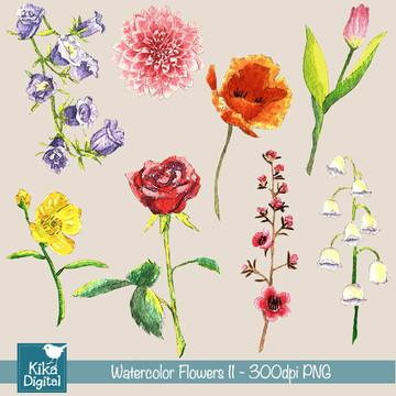Clipart Flores I - Aquarela