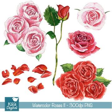 Clipart Rosas II - Aquarela