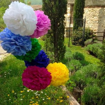 Decoração Pom pom Seda Kit 10 cores