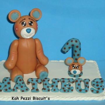 Topo de bolo urso em biscuit