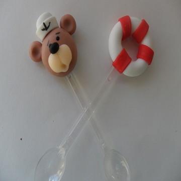 Colher Decorada Urso marinheiro biscuit