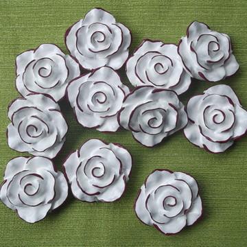 Puxador Rosa Provençal Branca Com Borda