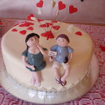 Topo de bolo Noivado/Casamento