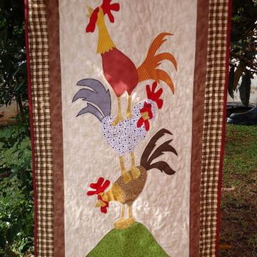 Painel de galinhas em patchwork