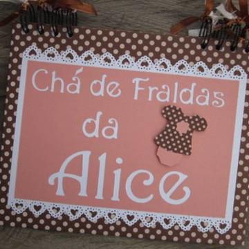 Caderno Personalizado Chá de Bebê menina rosa e marrom